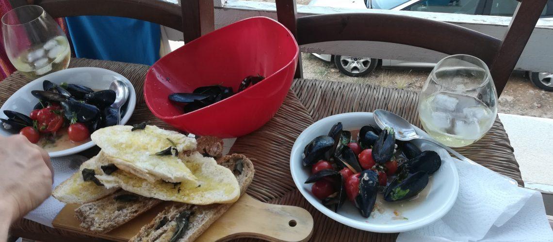 Blåmuslinger på Sicilien